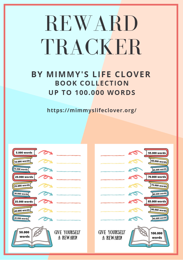 There is also numbered version of this tracker, so you can use it as a writing goal and reward page, as a part of your planner. You can reward yourself, write all future rewards and track your writing goals up to 100.000 words.