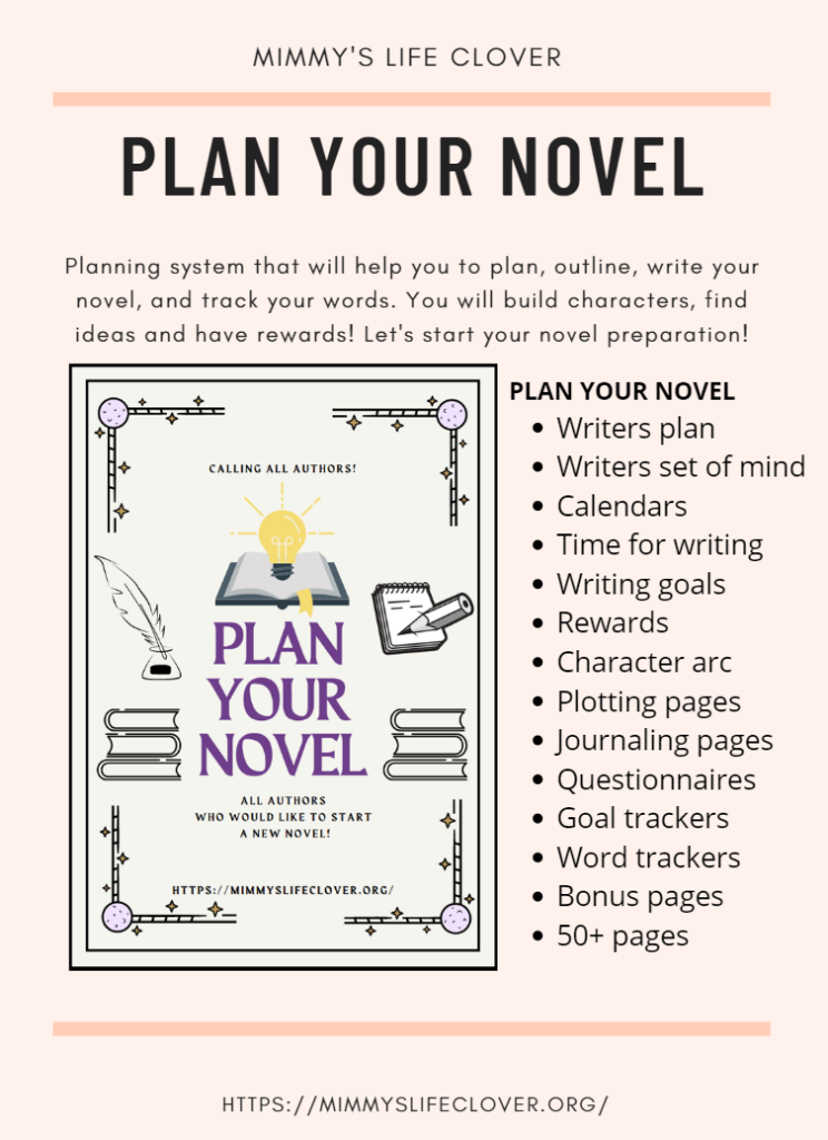 With this workbook you will learn how to prepare, outline, plot your idea, and what do you need before you start writing your novel. I won NaNo WriMo last year but I used this planning system and preparation. This is a specific method of planning your novel, and preparation that you can finish in just a few days set your writing goal and get ready for an amazing writing journey.